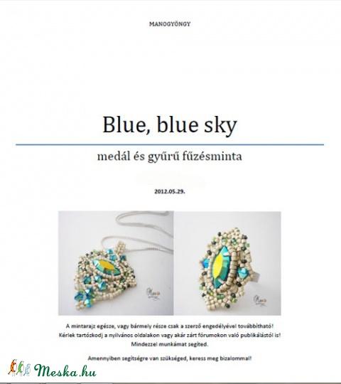 Fűzésminta: Blue sky medál és gyűrű, Csináld magad leírások, Szabásminta, útmutató, Alkotók boltja