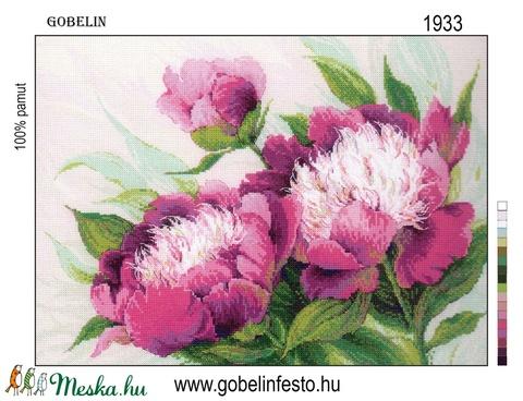 Festett gobelin minta - Pünkösdi rózsák, Textil, Pamut, Alkotók boltja