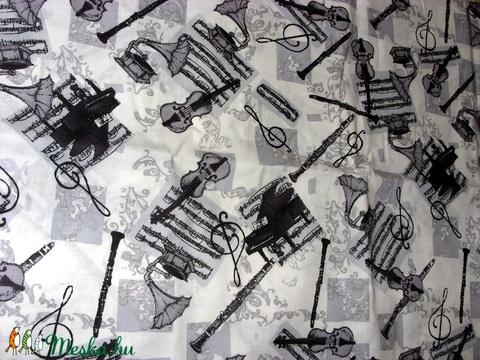 9a0d514b28 Zene - bona - ütős fekete - fehér mintás design textil 140cm 100% pamut,