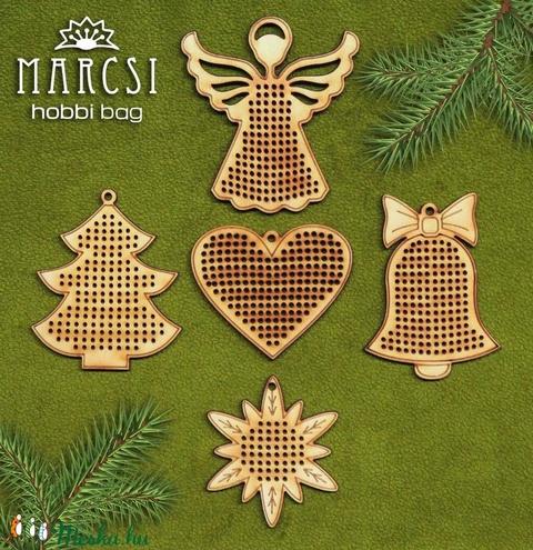 Karácsonyi hímezhető medálok, Fa, Rétegelt lemez, fa alap, Alkotók boltja
