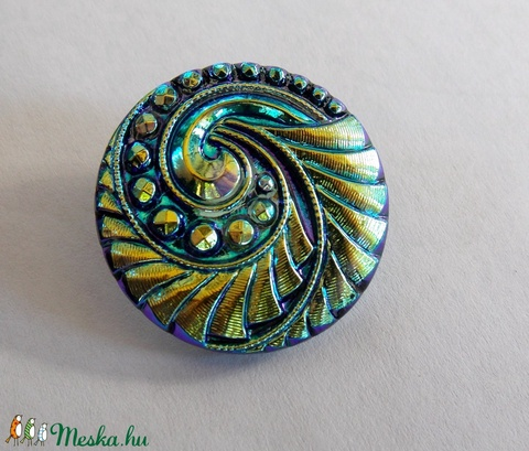 Arany-Kék örvény 27mm, Gyöngy, ékszerkellék, Cabochon, Alkotók boltja