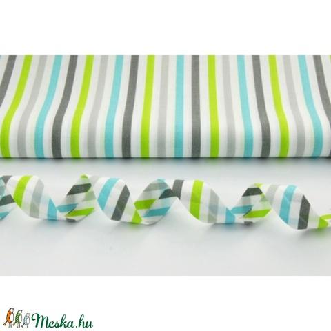 Szürke - fehér - türkiz - zöld, lime csíkos pamutvászon, vagány, üde fiús színek, Textil, Alkotók boltja