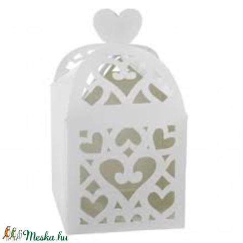 10 db fehér kalitka ajándékdoboz, Csomagolóanyag, Doboz, henger, Alkotók boltja