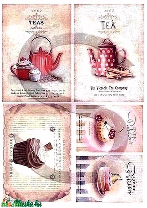 Vintage sorozat: Pöttyös teáskanna rizspapír, Papír, Decoupage papír, Alkotók boltja