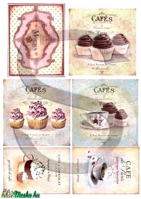 Vintage sorozat: Cafe de Paris, Papír, Decoupage papír, Alkotók boltja