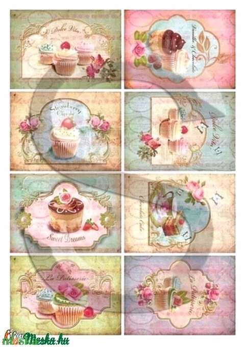 Vintage sorozat: Muffinok 2., Papír, Decoupage papír, Alkotók boltja