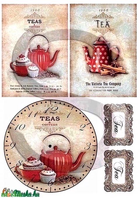 Vintage sorozat: Pöttyös teáskanna kollekció rizspapír, Papír, Decoupage papír, Alkotók boltja