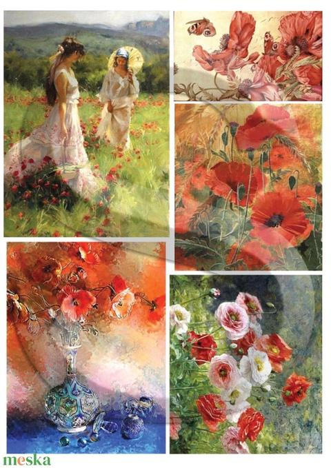 Akvarell sorozat:Pipacsok, Papír, Decoupage papír, Alkotók boltja