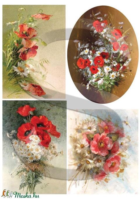 Akvarell sorozat:Mezei virágcsokrok, Papír, Decoupage papír, Alkotók boltja