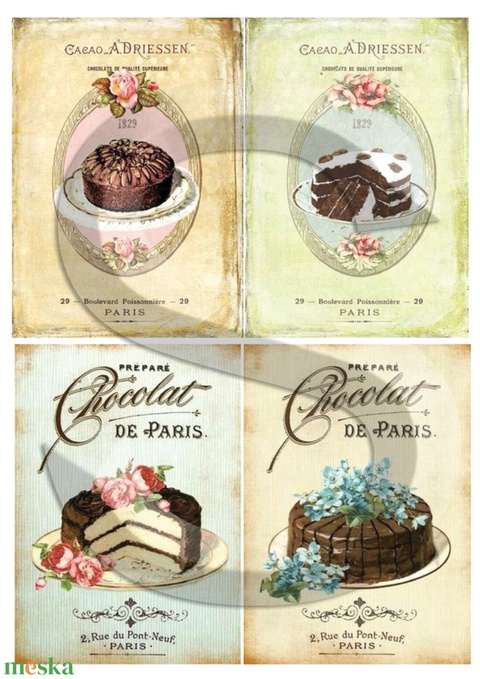 Vintage sorozat: Torták, Papír, Decoupage papír, Alkotók boltja