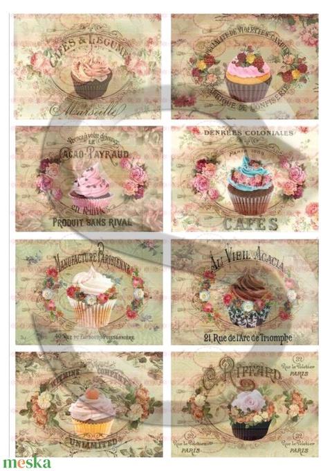 Vintage sorozat: Muffinok és rózsák, Papír, Decoupage papír, Alkotók boltja