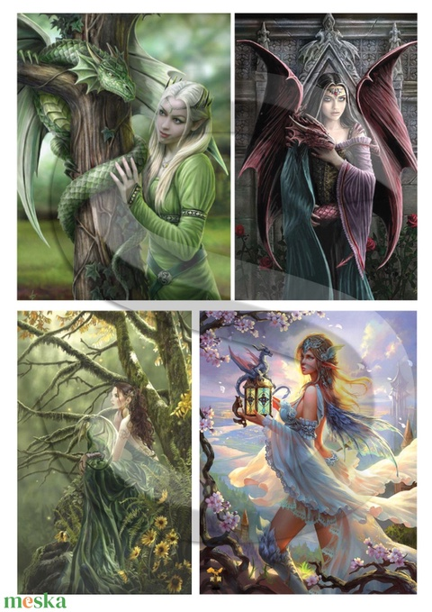 Fantasy sorozat : Sárkányok és tündérek, Papír, Decoupage papír, Alkotók boltja