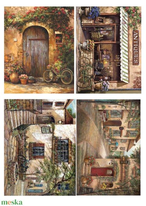 Akvarell sorozat: Provanszi bicikli, Papír, Decoupage papír, Alkotók boltja