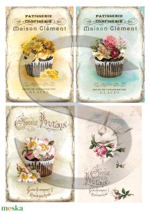 Vintage sorozat: Romantikus muffinok, Papír, Decoupage papír, Alkotók boltja