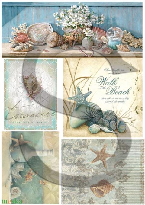Vintage sorozat: Kagylók, Papír, Decoupage papír, Alkotók boltja