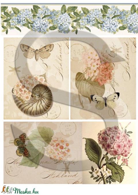 Virág sorozat: Hortenzia, Papír, Decoupage papír, Alkotók boltja