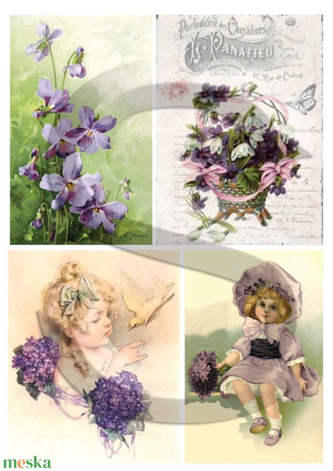 Virág sorozat: Ibolya, Papír, Decoupage papír, Alkotók boltja