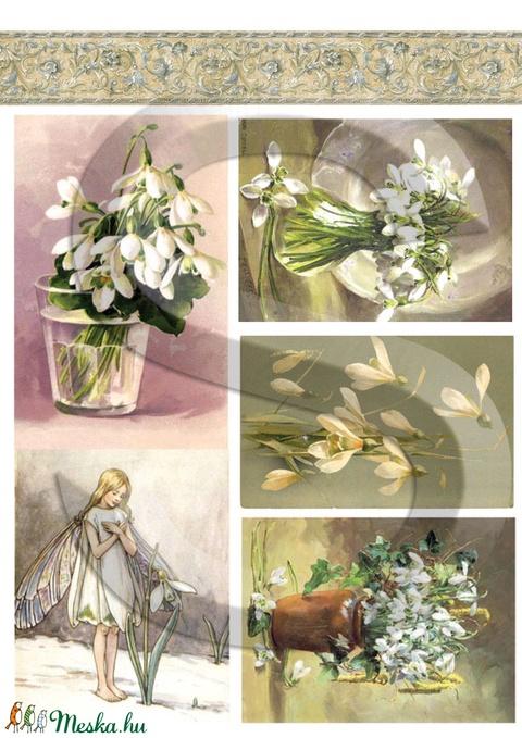 Virág sorozat: Hóvirág, Papír, Decoupage papír, Alkotók boltja