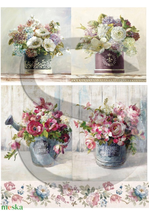 Akvarell sorozat: Virágcsokrok, Papír, Decoupage papír, Alkotók boltja