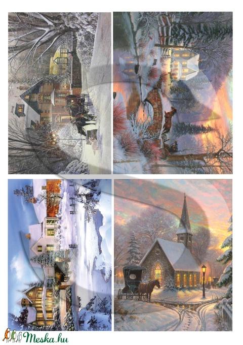 Karácsonyi sorozat: Karácsonyi lovaskocsizás, Papír, Decoupage papír, Alkotók boltja