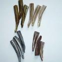 Színeszett kagylógyöngy - mix 4x3db, Gyöngy, ékszerkellék, Féldrágakő, Ékszerkészítés, Gyöngy, 4x3db barna, natúr és szürkéskék és zöldes-barna (sárgaréz) színűre színezett hosszú kagylógyöngy c..., Alkotók boltja