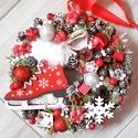 SUHANJ A JÉGEN ünnepi-karácsonyi kopogtató, ajtódísz, Dekoráció, Ünnepi dekoráció, Karácsonyi, adventi apróságok, Karácsonyi dekoráció, Mindenmás, Virágkötés,  A skandináv design kedvelőinek, akik szeretik a fehér, a szürke, a barna és a piros színeket, a ki..., Meska