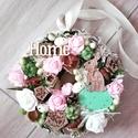 Tavaszi nyuszis-zöld-rózsaszín ajtódísz-kopogtató, Dekoráció, Húsvéti díszek, Otthon, lakberendezés, Ajtódísz, kopogtató, Mindenmás, Virágkötés, Egyedi ajtó vagy fali dísz tavaszi nyuszis stílusban készült. mérete:21cm, Meska