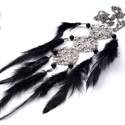 Nyaklánc fekete, Gyöngy, ékszerkellék,   Fekete toll réz színű lánc Eredeti tollnyakék filigrán medállal. A nyakék kerülete 70cm, ..., Alkotók boltja