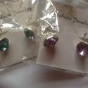 Fülbevaló színes üveg kővel , Gyöngy, ékszerkellék, válassz szint! kristály, piros, türkiz, opál barna vagy lila szinben  Méretei 13x23mm. A fém s..., Alkotók boltja