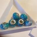 Pandora gyöngy 6db/cs, Gyöngy, ékszerkellék, Kerámiagyöngy, 925 ezüst közepü kerámia, 15*10 mm, 5 mm lyukkal, Alkotók boltja