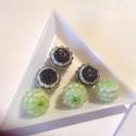 Szamballa, shamballa gyöngy 14 mm 6db, Gyöngy, ékszerkellék, Kerámiagyöngy, Szamballa, shamballa gyöngy 14 mm 6db/cs 3 zold és 3 fekete, Alkotók boltja