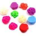 Gyanta rózsa kaboson Ø10 mm  , Gyöngy, ékszerkellék, Cabochon, Ragasztható 6db/csomag Átmérő 10 mm Szinek: fehér piros narancs lila zöld kék krém pink  ké..., Alkotók boltja