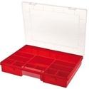 Szortiment rendező, Csomagolóanyag, Rendező doboz 12  fix rekesszel. Méret: 370*230*55mm piros szinben, Alkotók boltja