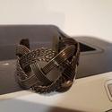 Fémkarkötő 5 sooros, Vegyes alapanyag, Egyedülálló karkötő,  A karkötők szélessége 4,6 cm A fém szine: bronz, Alkotók boltja