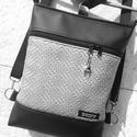 3in1 3D ezüst-fekete női hátizsák oldaltáska , Táska, Divat & Szépség, Táska, Válltáska, oldaltáska, Hátizsák, Varrás, Fekete és ezüst 3D textilbőrből  készítettem ezt az úgymond 3in1 táskát. Lehet válltáska,hátitáska,..., Meska