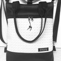 Elegáns 4in1 textilbőr hátizsák univerzális táska 3Dfonott fehér betéttel, Táska, Divat & Szépség, Gyerek & játék, Táska, Válltáska, oldaltáska, Hátizsák, Varrás, Fekete textilbőrből és 3D fonott mintás fehér textilbőrből készítettem ezt az elegáns táskát,mely k..., Meska
