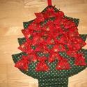 Fenyő adventi naptár csillagos, Baba-mama-gyerek, Dekoráció, Naptár, képeslap, album, Ünnepi dekoráció, Karácsonyi, adventi apróságok, Naptár, Varrás, Kedves Érdeklődő!  Sötétzöld-aranyszívecskés pamutvászon anyagból készítettem a fenyőt, flíz béléss..., Meska