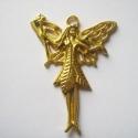 Gyönyörű nagy tündér  medál, Gyöngy, ékszerkellék, Fém köztesek, Arany színű tündér medál:  Mérete 49 x 39 mm  Az ár 1 darab medálra vonatkozik.      , Alkotók boltja