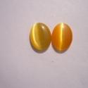 - 5 db Macskaszem cabochon, 14 x 10 mm, narancs, Gyöngy, ékszerkellék, Cabochon, Befoglalható, ragasztható macskaszem cabochon.  Méret: 14 x 10 mm Anyaga: üveg  Egy csomag 5 db ..., Alkotók boltja