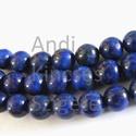 -20 db Lapisz Lazuli ásvány 8 mm, Gyöngy, ékszerkellék, Féldrágakő, Természetes, Lapisz Lazuli ásvány.  Sima golyós.  Méret: 8 mm Lyuk: 1 mm Szín: kék  Az ár 20 db / cs..., Alkotók boltja