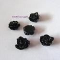 - 5 db gyanta rózsa cabochon 10 mm, fekete, Gyöngy, ékszerkellék, Cabochon, Befoglalható, ragasztható gyanta rózsa cabochon.  Méret: 10 mm  Egy csomag 5 db virágot tartalmaz.  ..., Alkotók boltja