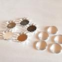 Ezüst színű medálalap üveglencsével 5db-os, Gyöngy, ékszerkellék, Cabochon, 5 db-os szett 1cm átmérőjű, Alkotók boltja