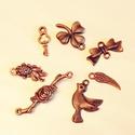 Alkatrész függő ékszerekhez, Gyöngy, ékszerkellék, Fém köztesek, bronz függő szett 7db-os, Alkotók boltja