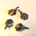 Fém függő, gyöngytartó medál, Gyöngy, ékszerkellék, Cabochon, bronz 4db-os szett 1,5 cm, Alkotók boltja