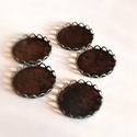 5 db-os bronz medálalap üveglencsével, Gyöngy, ékszerkellék, Cabochon, 18 mm üveglencsével, Alkotók boltja