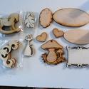 Fa díszítőelemek, Dekorációs kellékek, Fa, Mindenmás, Decoupage, szalvétatechnika, VÉGKIÁRUSÍTÁS !!!  14 db natúr fa díszítő elem különböző formákkal. Használhatók képeslapokhoz ,alb..., Alkotók boltja