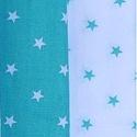Türkizzöld csillagos anyagok 1-1 méter, Textil, Pamut, Varrás, 150 cm széles pamutvászon anyagok, türkizzöld alapon fehér csillagok és ennek az inverze.   Mindkét..., Alkotók boltja