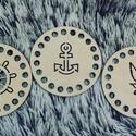 3 db-os horgolható fa poháralátét szett (tengeres) - Wood Stitch Collection, Fa, Rétegelt lemez, fa alap, Kötés, horgolás, Saját ötlet és fejlesztés alapján gyártott horgolható fa alap.  Festhető, lazúrozható, pácolható, a..., Alkotók boltja