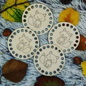 Rókacsalád horgolható fa alap szett  - Wood Stitch Collection, Fa, Rétegelt lemez, fa alap, Alkotók boltja
