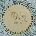 Unikornis - Kör 15 cm-es horgolható fa alap - Wood Stitch Collection, Fa, Rétegelt lemez, fa alap, Kötés, horgolás, Saját ötlet és fejlesztés alapján gyártott horgolható fa alap.  Festhető, lazúrozható, pácolható, a..., Alkotók boltja